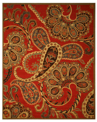 Hand-tufted Wool Red Transitional Oriental Paisley Rug