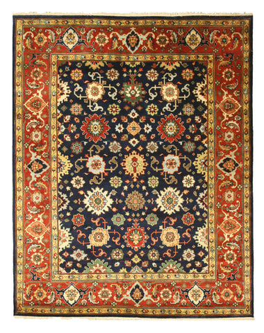 Hand-knotted Wool Navy Traditional Oriental Super Mahal Rug