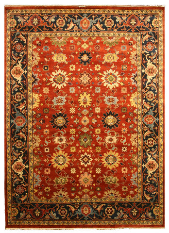 Hand-knotted Wool Rust Traditional Oriental Super Mahal Rug