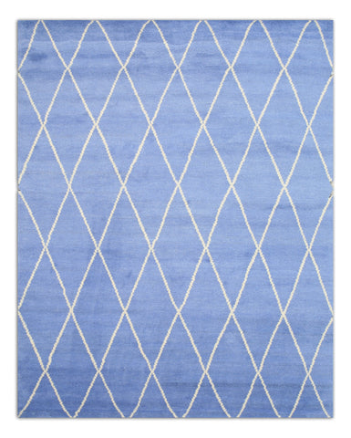 Hand-knotted Wool Blue Transitional Trellis Trellis Moroccan Rug