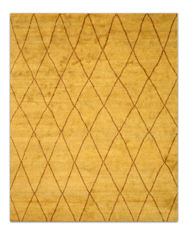 Hand-knotted Wool Gold Transitional Trellis Trellis Moroccan Rug