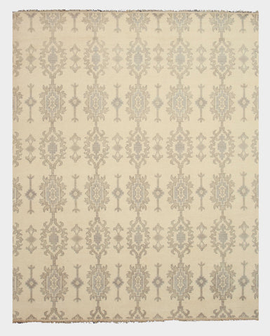 Hand-knotted Wool Ivory Traditional Oriental Mono Rug