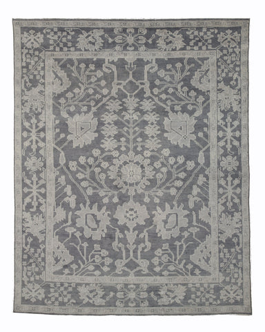 Hand-knotted Wool Gray Traditional Oriental Monochrome Oushak Rug