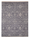 EORC SHT31GY Hand-knotted Wool Monochrome Oushak Rug, 9' x 12', Gray