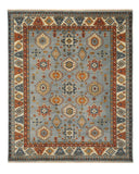 Hand-knotted Wool Blue Traditional Geometric Kazak Rug