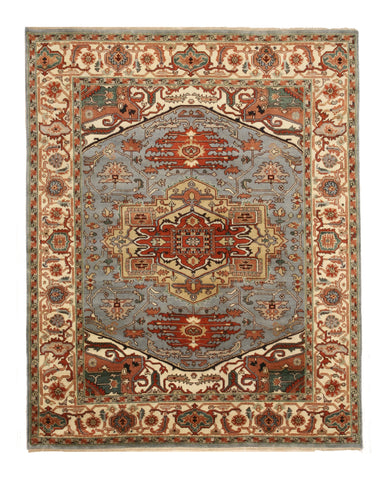 Hand-knotted Wool Blue Traditional Geometric Serapi Rug