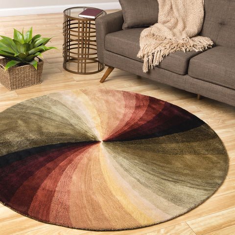 Hand-tufted Wool Multicolored Contemporary Abstract Swirl Rug