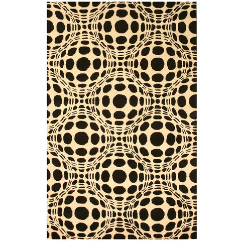 Hand-tufted Wool Black Contemporary Abstract Opto Curves Rug