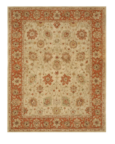 Hand-tufted Wool Beige Traditional Floral Agra Rug