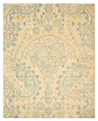Hand-tufted wool Ivory Transitional Paisley Jain Rug