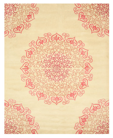 Hand-tufted Wool Red Transitional Oriental Modern Naiin Rug