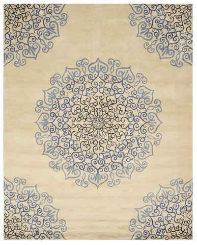 Hand-tufted Wool Blue Transitional Oriental Modern Naiin Rug