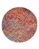 EORC T119MU Hand Tufted Cotton Sari Chevron Rug, 6' Round, Multi