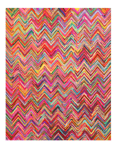 Hand-tufted Cotton Transitional Abstract Sari Chevron Rug