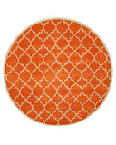 EORC T125OR Hand-tufted Wool Moroccan Rug, 7'9 Round, Orange