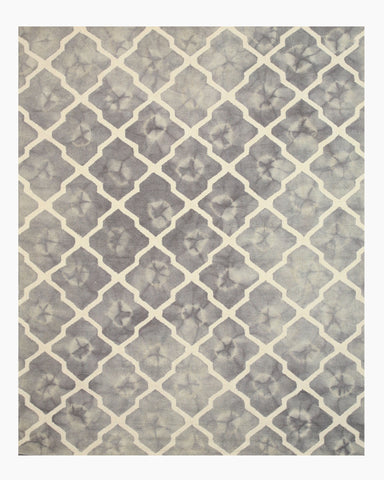 Hand-tufted Wool Gray Transitional Geometric Tie-dye Moroccan Rug