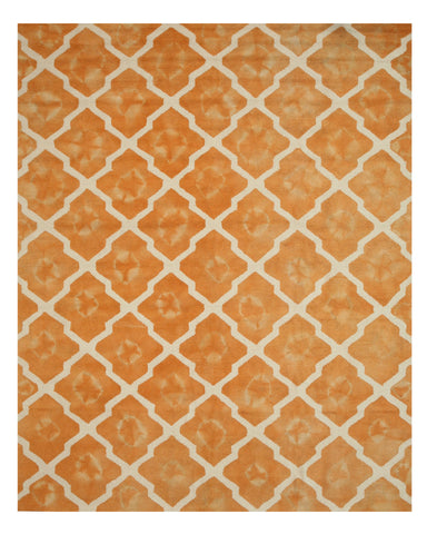 Hand-tufted Wool Orange Transitional Geometric Tie-dye Moroccan Rug