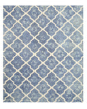 Hand-tufted Wool Blue Transitional Geometric Tie-dye Moroccan Rug