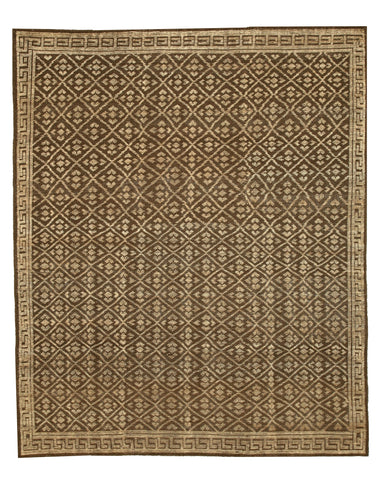 Hand-knotted Wool Brown Transitional Oriental Kotan Rug