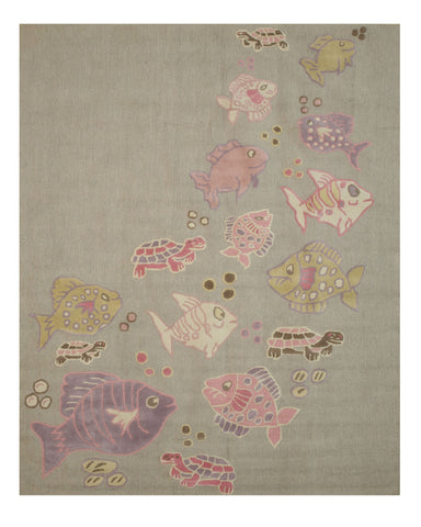 EORC T139GY Hand Tufted Wool Kid's Fish & Turtle Rug, 8' x 10', Grey