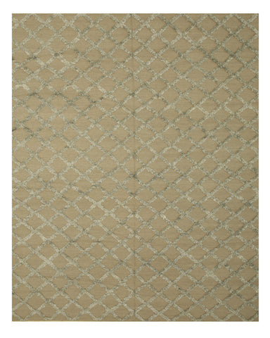 Handwoven Wool & Viscose Camel Transitional Trellis Marakesh Trellis Rug