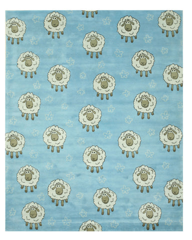 EORC T142BL Hand Tufted Wool Blue Kid's Sheep Rug