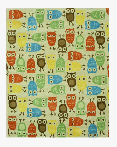 Hand-tufted Wool Beige Kids Animal Kid's Owl Rug