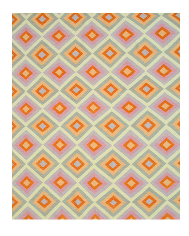 Handmade Wool Contemporary Geometric Reversible Flatweave Hollie Rug