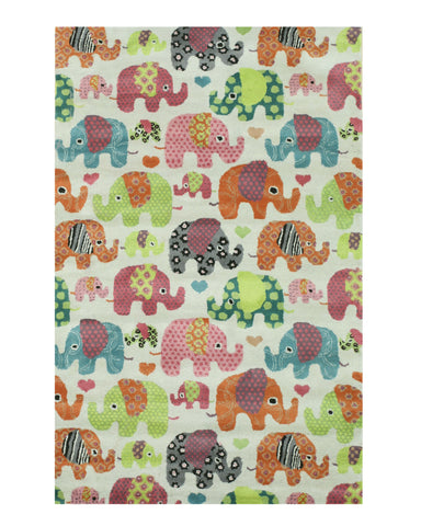 Hand-tufted Wool Ivory Transitional Kid's Kid's Elephant Rug