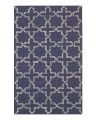 EORC T154BL Hand-tufted Wool Lexington Rug, 5' x 8', Blue