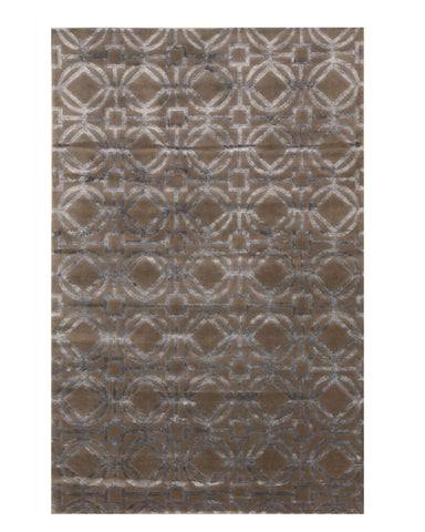 EORC T157GY Hand-knotted Wool & Viscose Tibetan Rug, 5' x 8', Brown