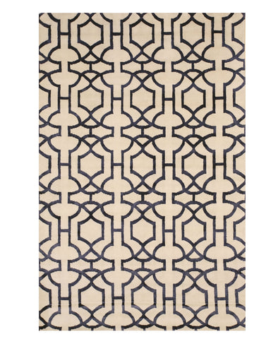 EORC T158IV Hand-knotted Wool & Viscose Tibetan Rug, 5' x 8', Ivory