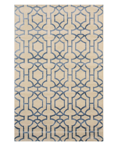 EORC T159IV Hand-knotted Wool & Viscose Tibetan Rug, 5' x 8', Ivory