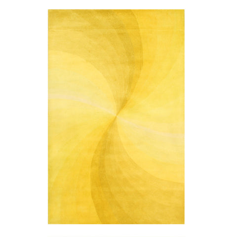 Yellow Swirl Hand-tufted Wool Rug
