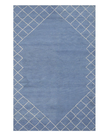 Handmade Wool Blue Transitional Trellis Kelly Rug