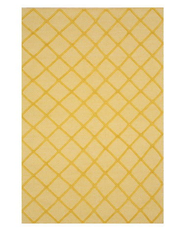 Handmade Wool Yellow Transitional Trellis Xavier Rug