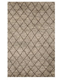 Hand-knotted Wool Gray Transitional  Trellis Moroccan Rug
