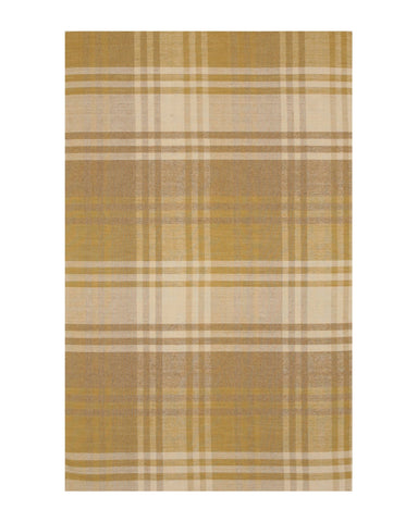 Handmade Wool Yellow Transitional Geometric Plaid Rug