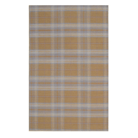 Beige/Blue Plaid Handmade Wool Rug