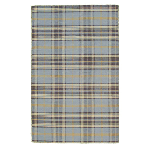 Blue/Navy Plaid Handmade Wool Rug