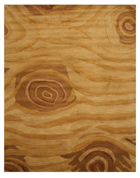 Hand Tufted Wool Beige Transitional Abstract Wood Rug
