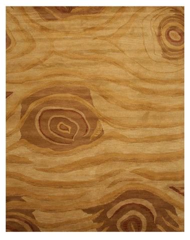 Hand-tufted Wool Beige Transitional Abstract Wood Rug