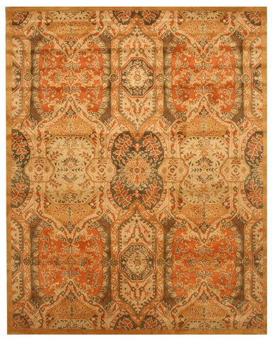 Hand-tufted Wool Gold Transitional Floral  Piazza Rug