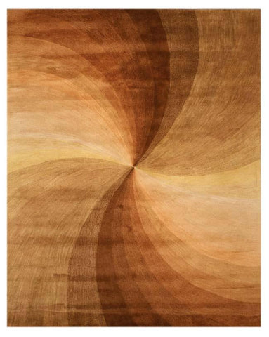 Hand-tufted Wool Brown Contemporary Abstract Swirl Rug
