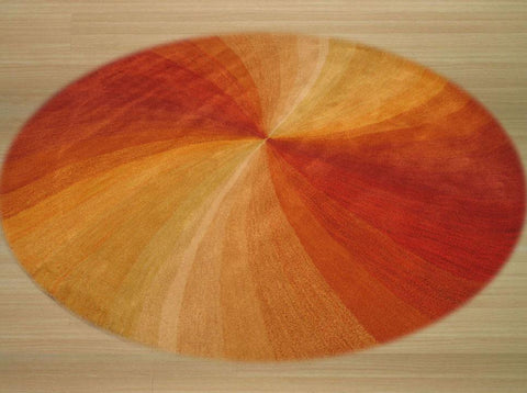 Orange Contemporary Swirl Rug