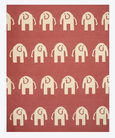 Handwoven Wool Pink Transitional Animal Elephant Dhurrie Rug