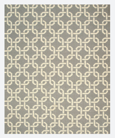 Handwoven Wool Gray Transitional Geometric Links Dhurrie Rug