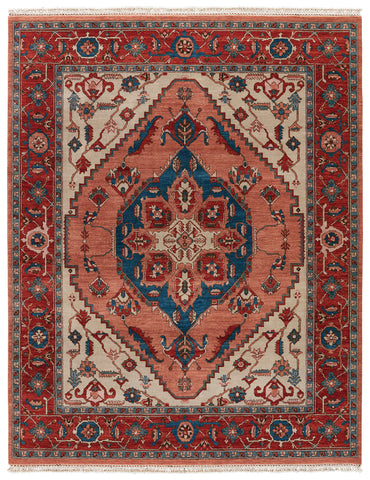 Artemis by Jaipur Living Avon Hand-Knotted Medallion Red/ Blue Area Rug (10'X14')