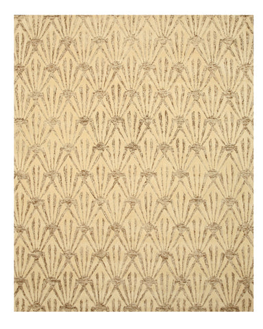 Hand-tufted Wool & Viscose Ivory Transitional Trellis Montego Rug