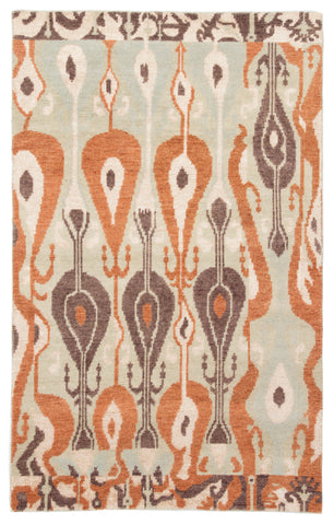 Jaipur Living Sphere Hand-Knotted Ikat Gray/ Orange Area Rug (2'X3')